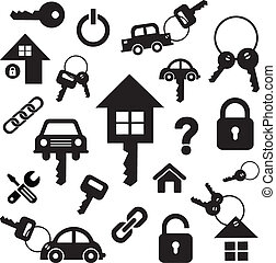 klee, thuis, symbool, auto