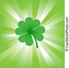 kleeblat, blätter, grün, 4, glück