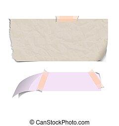 kleefstof merkt op, gescheurd, vrijstaand, kleverig papier, vector, bladen, leeg