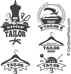 kleermaker, kentekens, ouderwetse , etiketten, emblems, vector