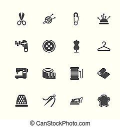 kleermakerswerk, -, plat, vector, iconen