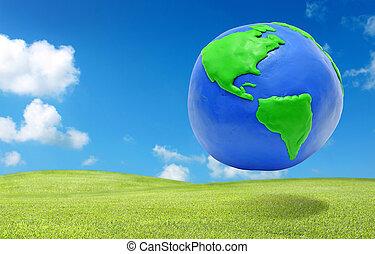 klei, aarde, op, de, groen gras, akker, eco, concept
