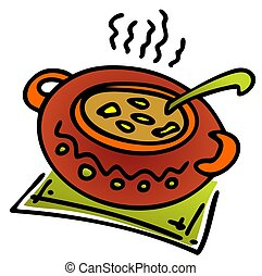 klei pot, met, maaltijd