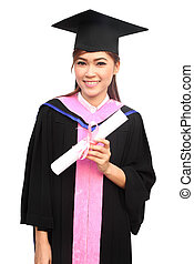 kleid, angehoben, frau, kappe, junger, studienabschluss, diplom, halten arm