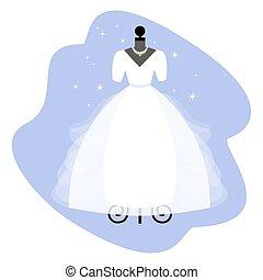 kleid, dress., modisch, mannequin., braut, vector., wedding, weißes, apparel.