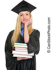 kleid, frau, junger, studienabschluss, buecher, glücklich