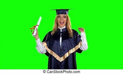 kleid, frau, screen., staffeln, bewegung, langsam, grün, diploma.