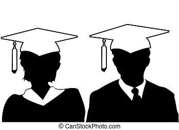 kleid, frau, silhouette, &, kappe, staffeln, promoviert, mann