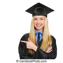 kleid, frau- zeigen, raum, junger, studienabschluss, lächeln...