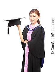 kleid, kappe, frau, studienabschluss