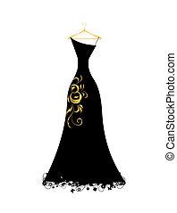 kleiden, abend, schwarz, kleiderbügel
