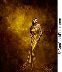 kleiden, frau, gold, schoenheit, kleid, glanz, mannequin, m�dchen