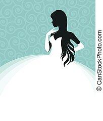 kleiden, frau, schablone, weisen, flieger, wedding, braut, vektor, illustration.eps, einladung, oder