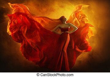 kleiden, mode, kunst, schoenheit, kleid, feuer, fliegendes, m�dchen, stoff, fantasie, frau, flamme, träume, porträt, verbundene augen, modell, flattern, flügeln, rotes , mögen