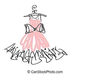 kleiden, weißes, schwarz, design, wedding