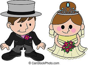 kleider, wedding, stallknecht, abbildung, braut