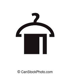 kleiderbügel, ikone, mit, handtuch, ., vektor, abbildung