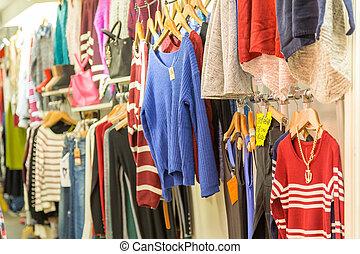 kleiderbügel, kleidung, markt, kaufmannsladen, nacht