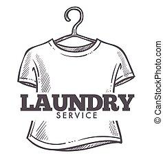 kleiderbügel, wäscherei, service, logotype, gesetzt, tshirt, dreckige