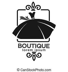 kleiderladen, etikett, schwarz, logo, weisses kleid