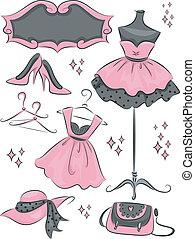 kleiderladen, mode, elemente