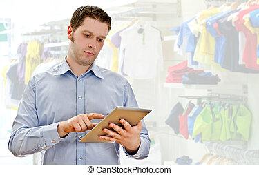 kleidung, aufseher, kaufmannsladen, tablette pc