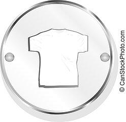 kleidung, für, frauen, oder, man., t-shirt, ikone, freigestellt, weiß