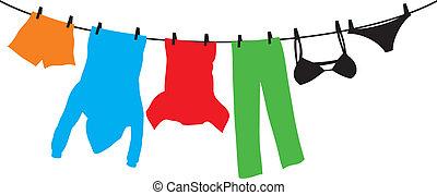 kleidung, hängen, a, wäscheleine