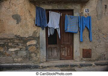 kleidung, hängender , trocknen, auf, a, clothes-line