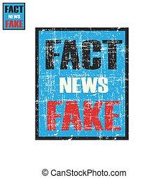 kleidung, propaganda, schäbig, plakat, beschriftung, nachrichten, fälschung, oder, tatsache, druck