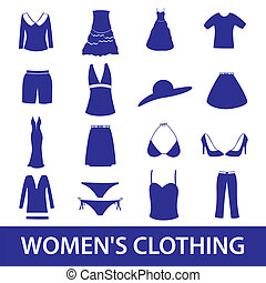 kleidung, satz, eps10, ikone, womens