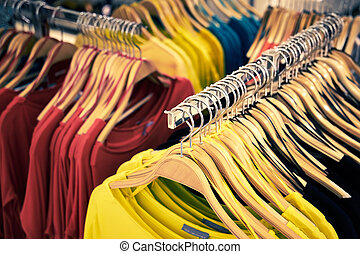 kleidung, und, einzelhandel, store-view, von, laden, mit, t-shirt