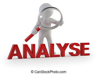 klein, -, 3d, analysieren, leute