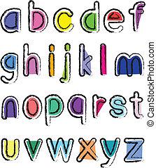 klein, alphabet, künstlerisch