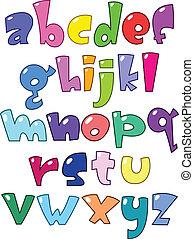 klein, alphabet, karikatur