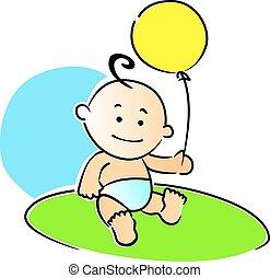klein, baby, spielende , mit, a, gelber , balloon