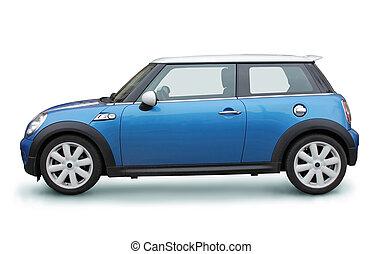 klein, blaues auto