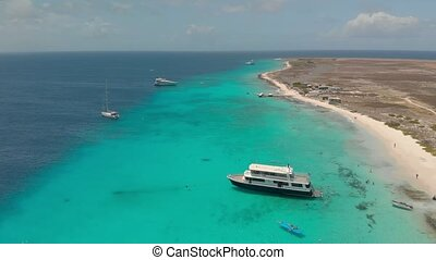 Klein Curacao island. Drone shooting - Aerial shooting of...