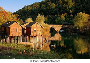 klein, dorf, crnojevica, montenegro, fluß