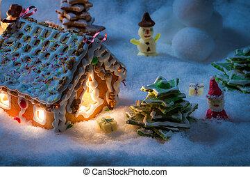 klein, dorf, in, der, schnee, gebaut, von, süße
