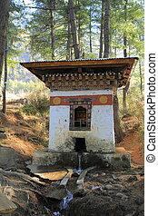 klein, dzong, in, paro, tal, bhutan