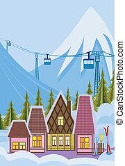 klein, fahren ski zuflucht
