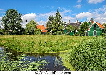 klein, flüßchen, und, ländlich, häusser, in, niederländisch, village.
