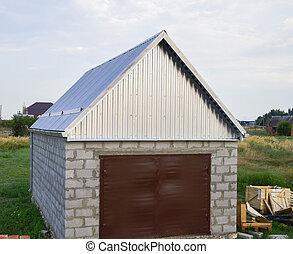 Klein, Garage, Mit, A, Dach, Von, Gewellt, Blech