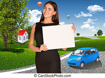 klein, Geschäftsfrau, Auto, Bäume, häusser