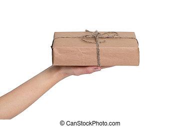 klein, geschenk, in, der, hände, von, a, frau