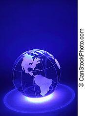 klein, glaskugel, gleichfalls, erleuchtet, per, blaues...