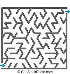klein, graue , vektor, maze., abbildung