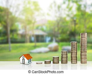 klein huis, muntjes, stapel, goud