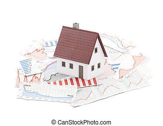 klein huis, op, krant, diagrammen